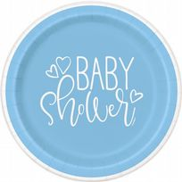 "Blue Hearts Baby Shower 7"" Paper Plates (8)"